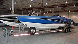 The New One - 2007 Cigarette Top Gun Unlimited - Thanks Cigarette and Pier 57-back-paint-trailer-bow-port-121106.jpg