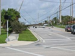 Hurricane aftermath from Stuart FL-poles-down.jpg
