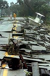 Hurricane aftermath from Stuart FL-boat-road.jpg