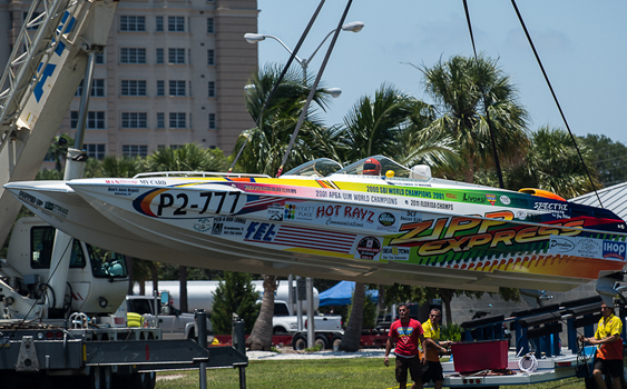 Dave Crago snapped the astronaught-like launch of the Zipp Express at the Suncoast Super Boat Grand Prix.