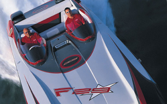 DCB's catamarans, including the 140-plus-mph F29 Pegged, always seemed to impress the Powerboat Test Team.
