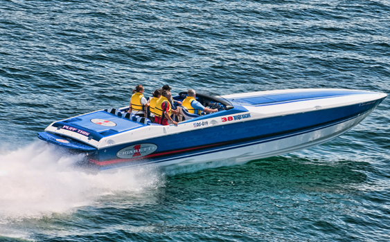 In his 2008 Cigarette's 38' Top Gun, Dan Ellis found exactly the kind of strong and spacious go-fast boat he was looking for. (Photo courtesy/copyright Jay Nichols/Naples Image.)