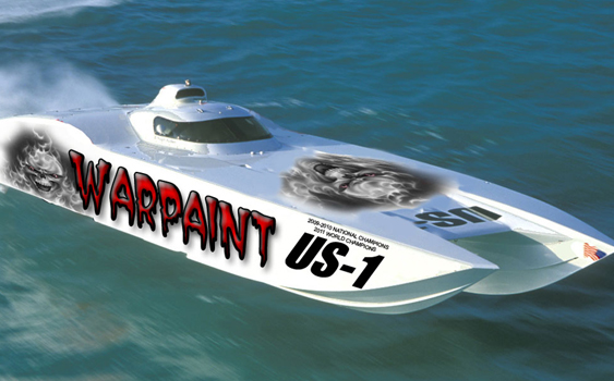 Team Warpaint will be campaigning a new catamaran from Marine Technology Inc., less than a year after crashing in Key West. (Photo courtesy of Team Warpaint.)