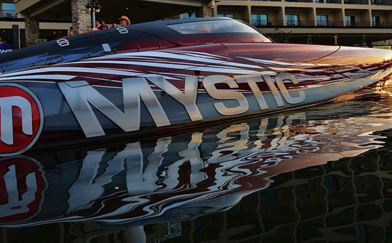 As presenting sponsor of SuperCat Fest in August, Boat Customs brought the beautiful Mystic catamaran to the event at Lake of the Ozarks in Missouri. Photo by Jay Nichols/Naples Image