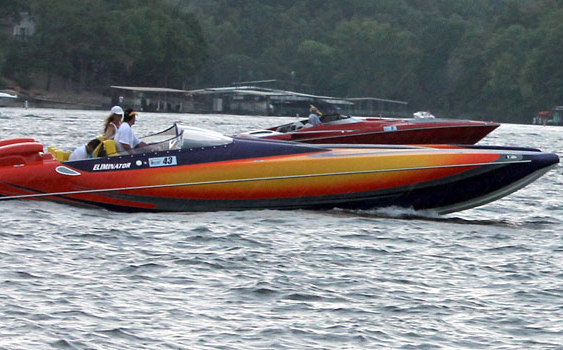 Hering propellers put the power to the water during Greg Olson's 192-mph at the 2012 Lake of the Ozarks Shootout.