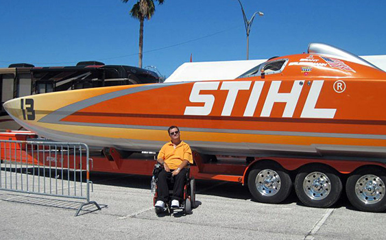 A fan of offshore racing, Florida Coastal Artist Christopher Kuster has painted a variety of race boats, including the Team STIHL Skater Powerboats catamaran owned by J.R. Noble.