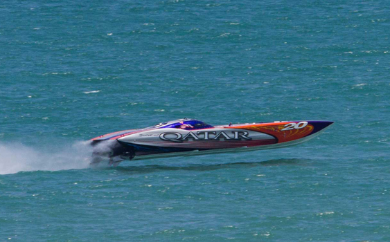 The Qatar teams Superboat-class catamaran made its debut at the SBI event in Cocoa Beach, Fla.