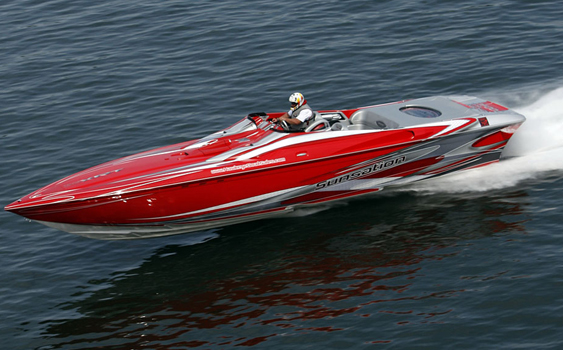 At the 2011 Lake of the Ozarks Shootout, Jared Morris won his class with a 112-mph top speed in his Sunsation Boats 36 Dominator XRT with twin Mercury Racing HP700SCi engines.