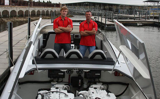 Before making the trek to Bermuda, Chris Fertig (left) and Tyson Garvin spent some time at Lake of the Ozarks in Missouri testing the Skater Powerboats 399 with twin 480-hp Cummins diesel engines.
