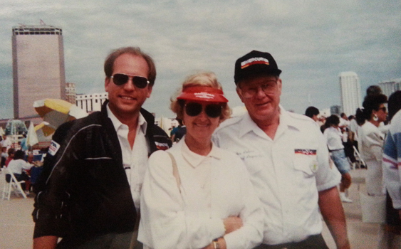 (L-R) Central Division Inspector Jim Lang, Carole & Chief Inspector Jon Culver tour the Atlantic City pits at 1989 Trump Castle World Championships