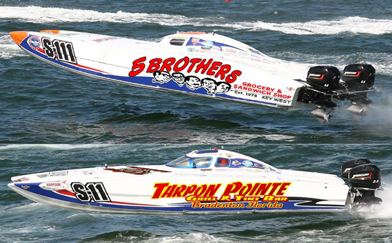 Both boats in this image will compete in the Superboat Stock class under the Doubledge Motorsports umbrella.