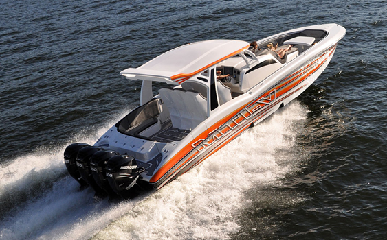 The latest quad-engine 42-foot V-bottom from Marine Technology Inc. will be in town for the 54th annual boat show.