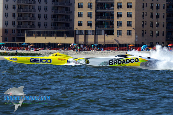 "Though they'll be running in different classes, Miss GEICO and Broadco will be ""ones to watch"" during the SBI Key West Offshore World Championships next week. Photo by Tim Sharkey."