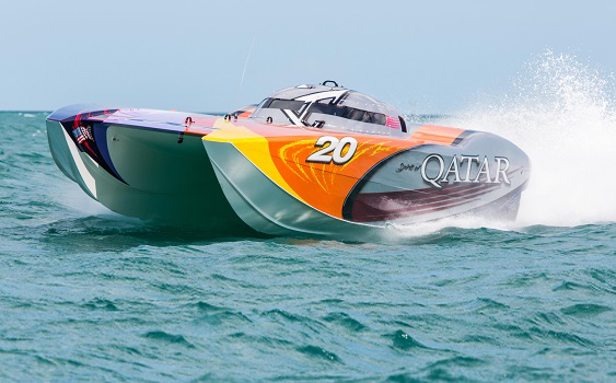 The 39' MTI Qatar 20 dominated the Superboat class in Key West on Sunday.