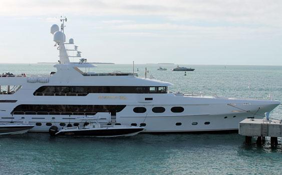 John Rosatti spent the week in Key West, Florida, aboard his 162-foot Christiansen mega yacht.