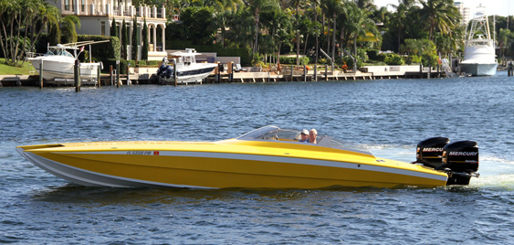 Although it's not 100-percent finished, Ballough has already been running the 32-foot Skater Powerboats raceboat he converted to a pleasure boat.