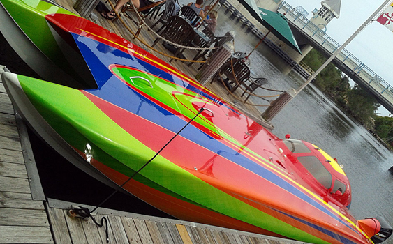 The colorful Skater raceboat was built to compete in the Superboat Stock class, but it never raced stateside, only overseas for a short time in the XCAT Series.