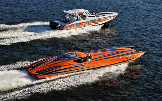 Two of the newest models from MTI—the 42-foot center console and the 52-foot canopied catamaran—represented a majority of the company's production in 2013. (Photo courtesy of MTI.)