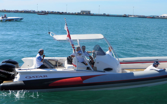 After working on the Qatar Team's new Mystic, support rig, golf cart and more, Borg was asked to be part of the U.S. crew and drove the team's rigid inflatable support boat from Cougar Marine in Key West at the world championships.