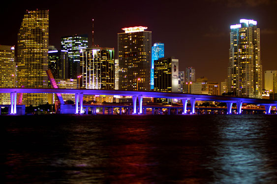 Spectacular at night, Miami doesn't lack for nightlife. (Photo by Tim Sharkey.)