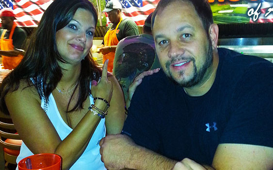 High-school sweethearts Mike and Robin Layton enjoy date night at Hooters—Robin's first and most likely last time at the restaurant, according to Mike.