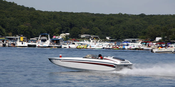 Revolution Performance Marine Steve Tripp, who crashed while testing yesterday afternoon, loved going fast as evident in his participation in the Lake of the Ozarks Shootout in Missouri every year. Photo by Robert Brown