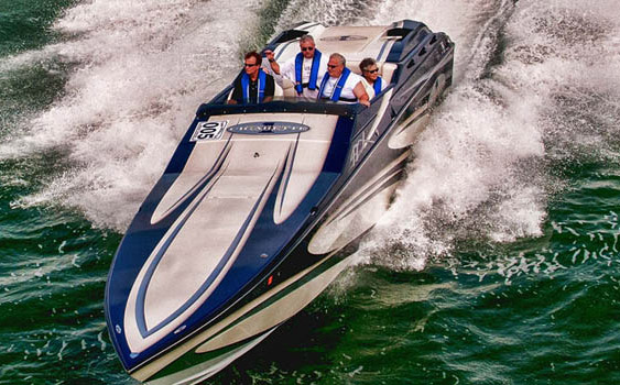 Following the bouncing performance boat: From Bob Christie's current Cigarette 42 X … (Photo by Jay Nichols)