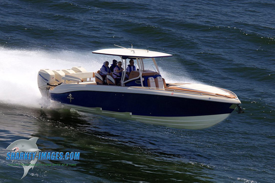 To his last ride, a custom quad-outboard 38-foot center console from Statement Marine … (Photo by Tim Sharkey)