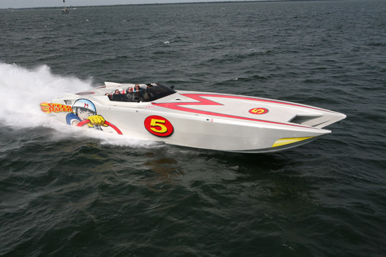 To Speed Racer, the well-known 44-foot MTI cat Christie sold before he bought the Statement.