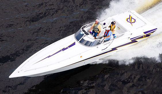 Bill Pyburn Sr. has participated in the Jacksonville River Rally Poker Run in a variety of boats, including his 35 Lightning from Fountain Powerboats. Photo by David Andrews/performance-images.com