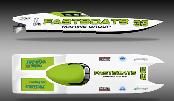 The Fastboats.com 40-foot MTI catamaran is getting a makeover in time for the inaugural Charlotte Harbor Grand Prix in Englewood, Fla. (Courtesy Fastboats.com.)