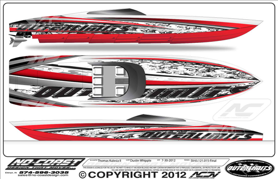 The design of the graphics for Dustin Whipple's Outerlimits SV 43 was among the complicated Kulesia has ever created.