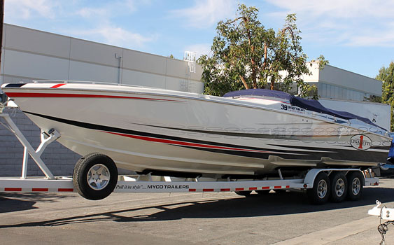 This 39-foot Cigarette Racing V-bottom is at the Teague Custom Marine shop awaiting its rebuilt Mercury Racing 850SCi engines, which are being upgraded to 1,075-hp power plants.