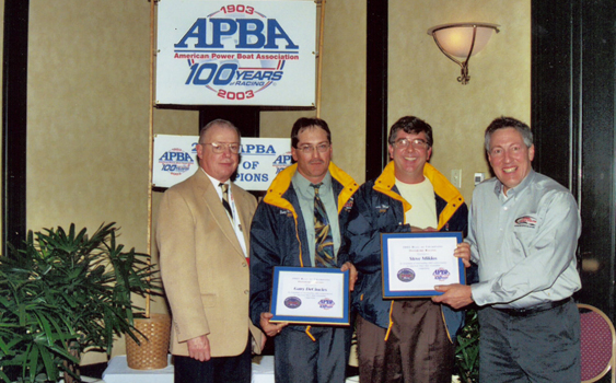 Induction into APBA Hall of Champions - 2003   (L-R)   Steven Hearn (APBA President), Gary DeCiuicies, Steve Miklos and Ted Zoli (APBA Offshore)