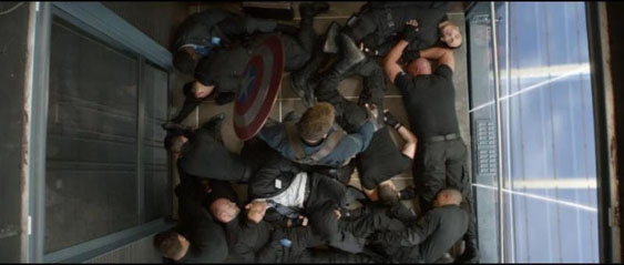 """This elevator scene in """"Captain America 2: The Winter Soldier,"""" utilized acrylic provided by Aero-Marine and AM Hot Rod Glass. Photo courtesy Aero-Marine."""