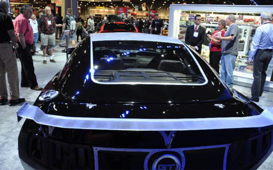 """AM Hot Rod Glass produced the acrylic rear window that was part of a handmade lift-off roof on this 2014 Mustang GT Convertible by Hollywood Hot Rods, which took home the Ford Motor Company's """"Product Excellence Award"""" at the 2013 SEMA Show. Photos courtesy Aero-Marine."""