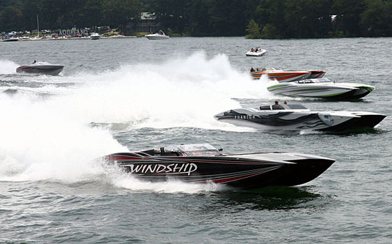 John Woodruff, shown driving his 48-foot MTI Windship at last year's Pirates of Lanier Poker Run, is expecting to raise even more money for charity at this year's event. Photo by Jeff Gerardi/FreezeFrameVideo.net