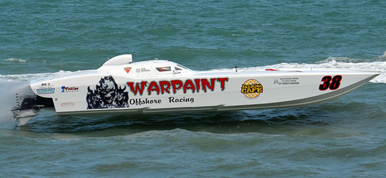 After crashing its 42 MTI in Key West, Fla., last November, Team Warpaint Offshore Racing is excited to have its boat back in time for next week's race in Cocoa Beach, Fla. Photo by Lucididee Fast Boats (http://www.lucidideefastboats.com)