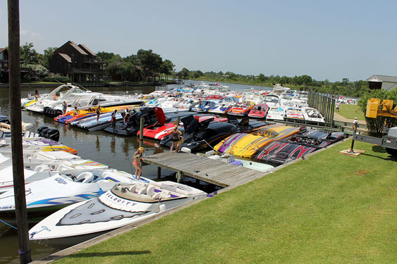 "This is the dock scene from the annual ""pool party"" at a private home during Texas Outlaw Challenge. (Photo by Jason Johnson.)"