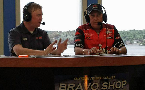 Brendan Matthews (left) and racing legend David Scott spent two days bringing viewers the racing action from the Bravo Shop broadcast booth at Lake Race 2014. (Photo courtesy KRMS Radio.)