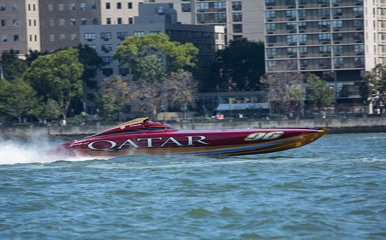 Al Adaa'am 96, the Qatar Team's turbine-powered Mystic Powerboats catamaran, should command much of the attention at the 2014 Lake of the Ozarks Shootout. Photo courtesy QMSF