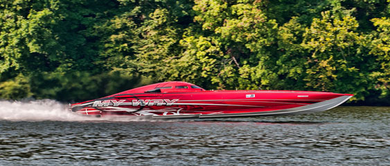 It's not going to be easy for anyone to top the 224-mph Shootout record set last year by My Way, Bill Tomlinson's turbine-powered 50-foot Mystic. Photo by Jay Nichols (http://naplesimage.wordpress.com)