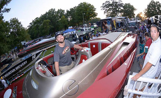 Justin Wagner and the crew from Waves and Wheels are planning to attend the Shootout in the Park again with the company's stunning Ironman-themed Hustler Powerboats catamaran. Photo courtesy George Denny/LakeOzarkRacing.com