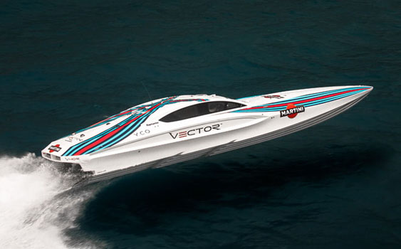 The Vector Powerboats V40R is powered by twin 725-hp engines from Ilmor Marine.