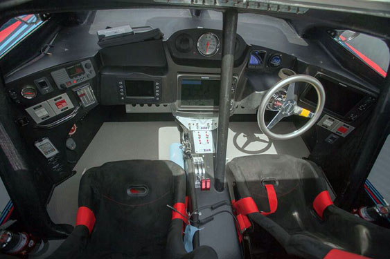 The cockpit of the 40-foot raceboat features suspension seats and all the bells and whistles a driver and throttleman need.