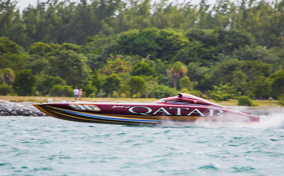 Featuring a pair of T-55 turbine engines, the Qatar Team's 50-foot Mystic catamaran is the odds-on favorite to win the Top Gun title this year. Photo courtesy Qatar Marine Sports Federation
