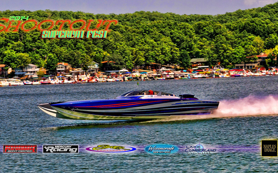 John Tomlinson made three passes in this Skater 388 catamaran during the Lake of the Ozarks Shootout. Photo by Jay Nichols/Naples Image. (http://naplesimage.com)