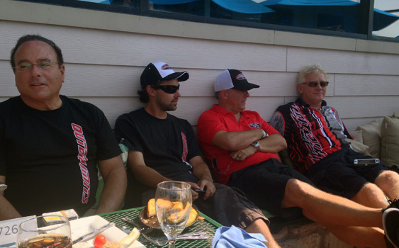 Mike Fiore (in red) chilled out with three of his closest friends (from left)—Joe Sgro, Dan Kleitz and Steve Curtis—during the Buffalo Poker Run.