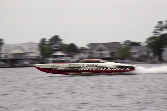 "In April 2014, this Outerlimits SV 43 officially claimed the title of ""World's Fastest V-bottom."" Photo by David Clark."