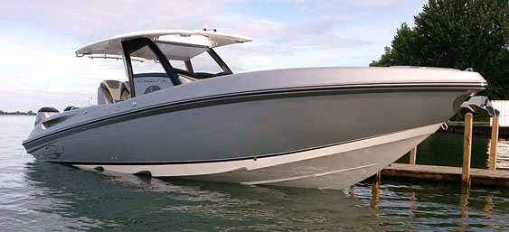 The same generous cabin and T-top on the 34 CCX (shown here) will be standard on the new-for-2015 32 CCX.